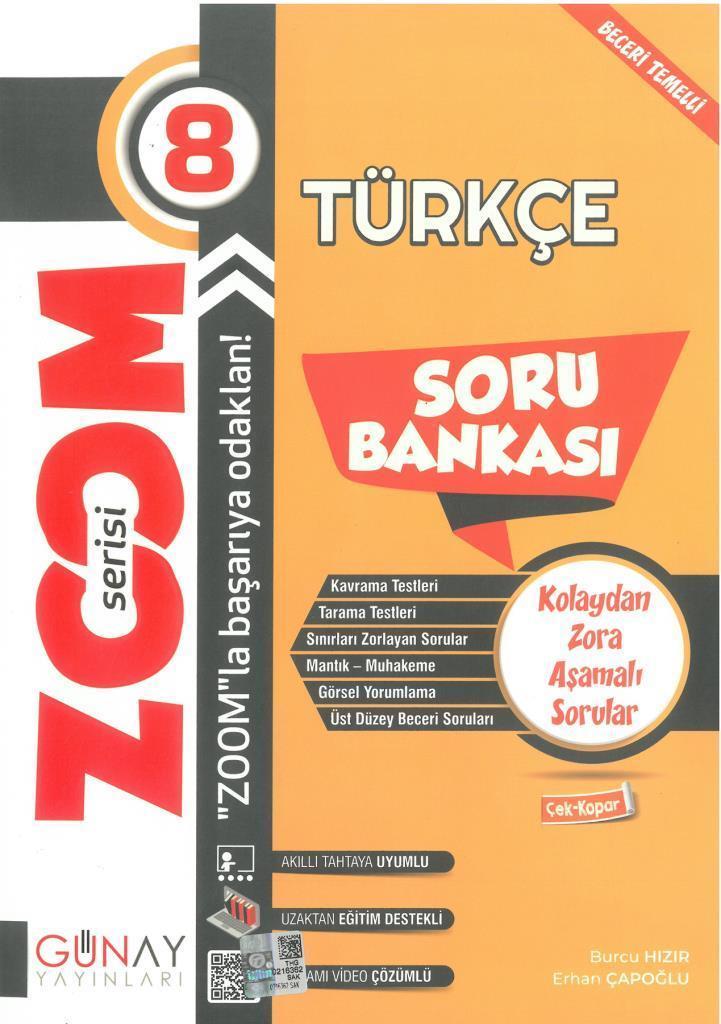 Günay 8.Sınıf Zoom Serisi Türkçe Soru Bankası
