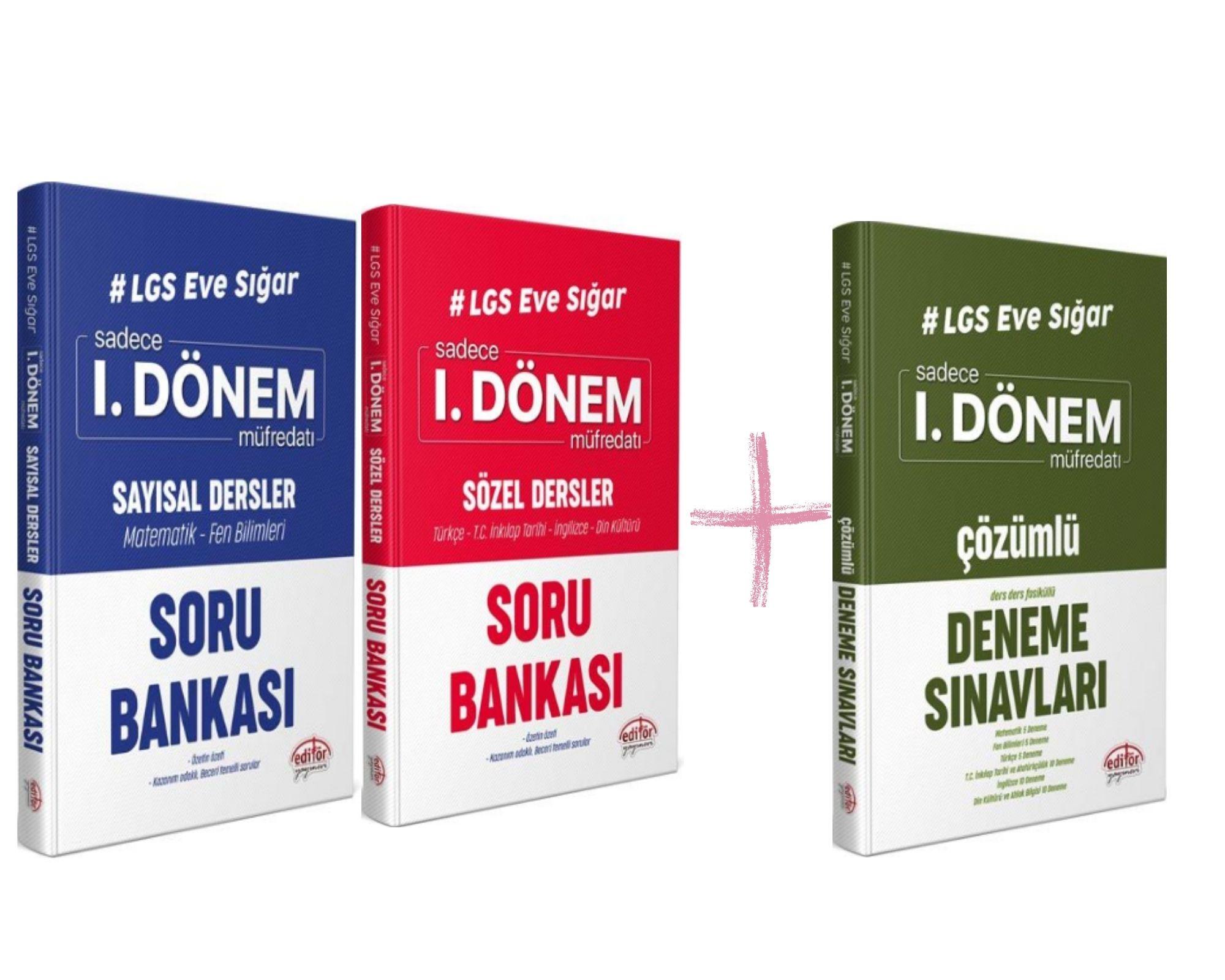 LGS Editör Yayınları 2 Adet 1.Dönem Soru Bankaları+1 Adet Deneme Seti