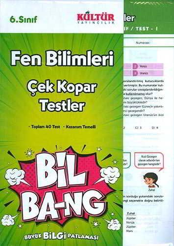Kültür Yayıncılık 6.Sınıf Bil Ba-Ng Fen Bilimleri Çek Kopar Testleri