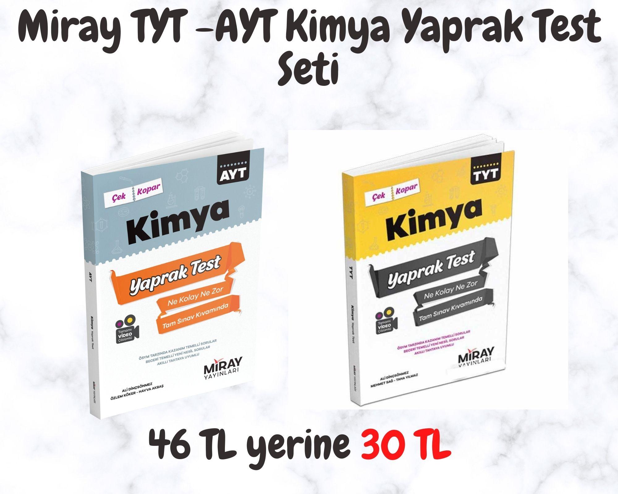Miray TYT -AYT Kimya Yaprak Test Seti