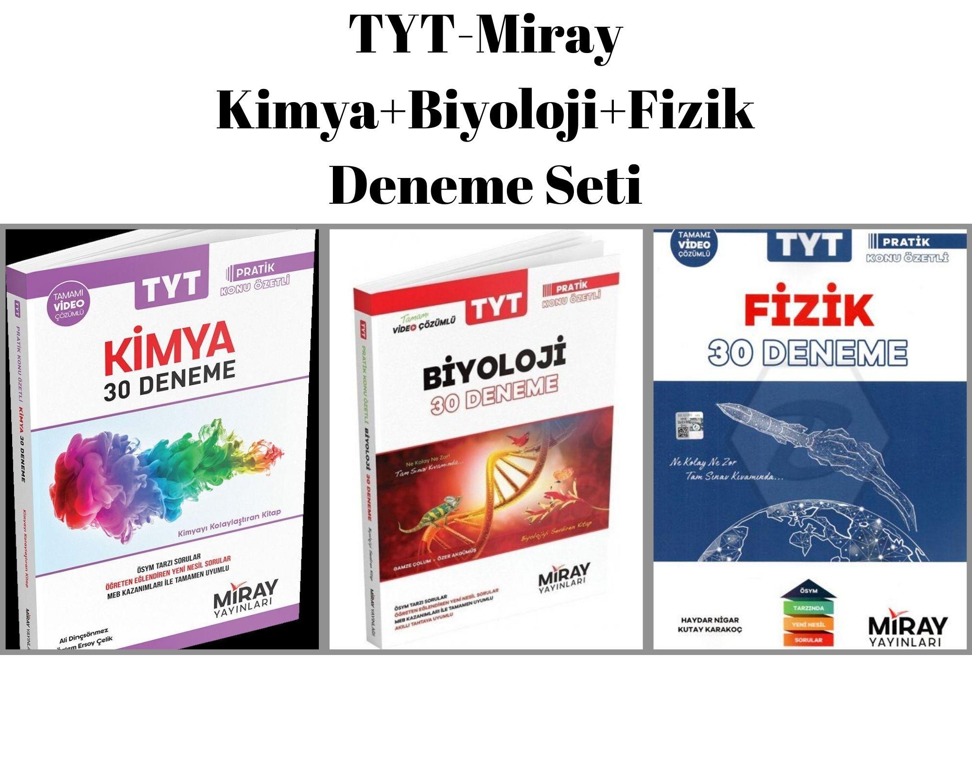 TYT-Miray Kimya+Biyoloji+Fizik Deneme Seti
