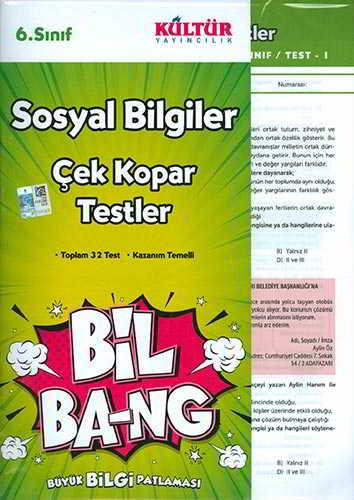 Kültür Yayıncılık 6.Sınıf Bil Ba-Ng Sosyal Bilgiler Çek Kopar Testleri