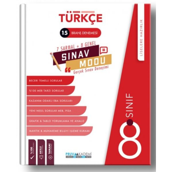 Pruva 8.Sınıf LGS Türkçe 15 Branş Denemesi 2021